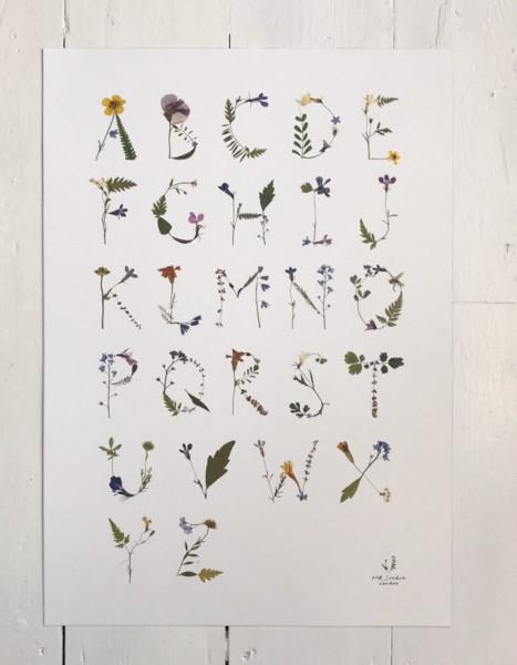 MR Studio London A2 Pressed Flower Alphabet Poster- White