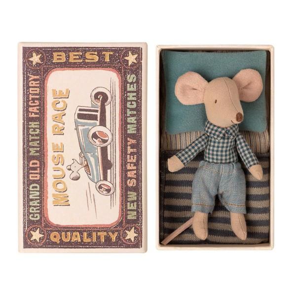 Maileg Maus kleiner Bruder im Hemd mit Schachtel