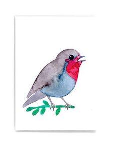Frau Ottilie - Postkarte Rotkehlchen
