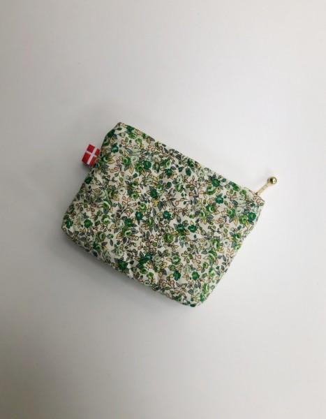 Vita Vass Kosmetiktasche klein creme mit grünen Blumen