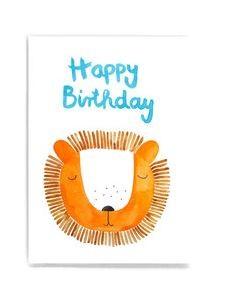 Frau Ottilie - Postkarte Happy Birthday Löwe