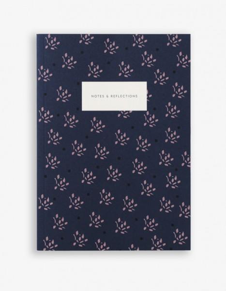 Kartotek Notizheft Floral Navy