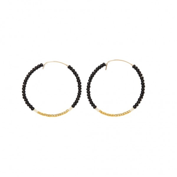 Sidai Designs Ohrringe Hoop Small Black Cream Gold
