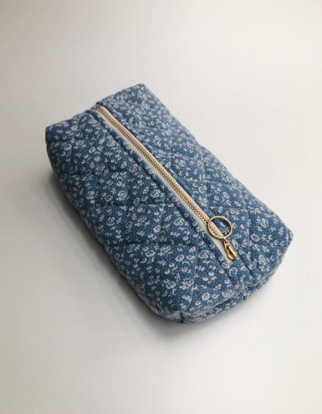 Vita Vass Kulturbeutel klein jeansblau mit weißen Streublumen