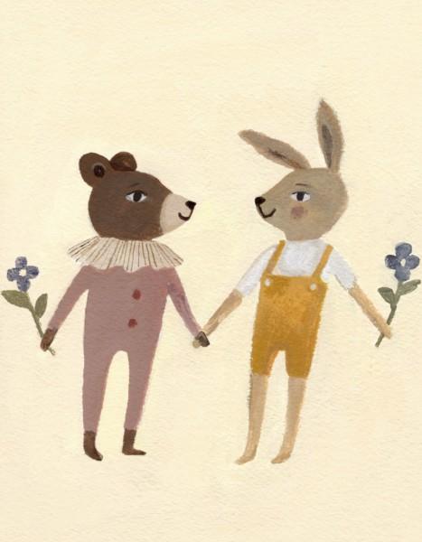 Main Sauvage Karte Teddy and Bunny