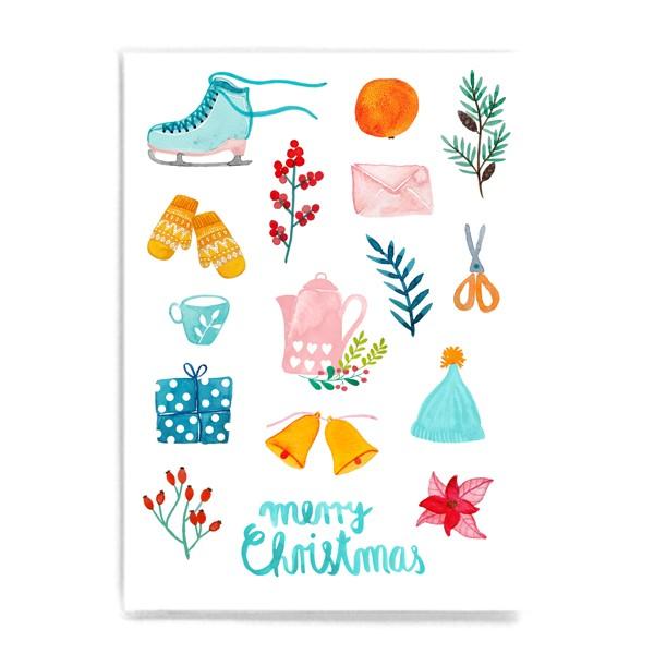 Frau Ottilie - Postkarte Merry Christmas