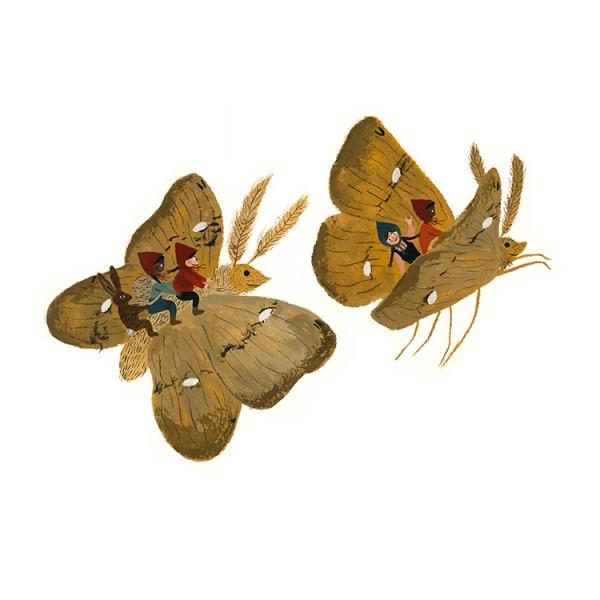 Tijana Draws Print Moth Riding Children