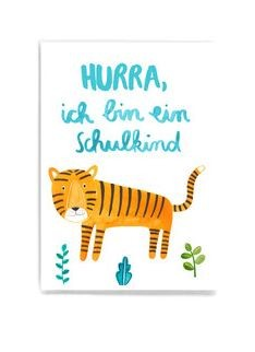 Frau Ottilie - Postkarte Hurra ich bin ein Schulkind