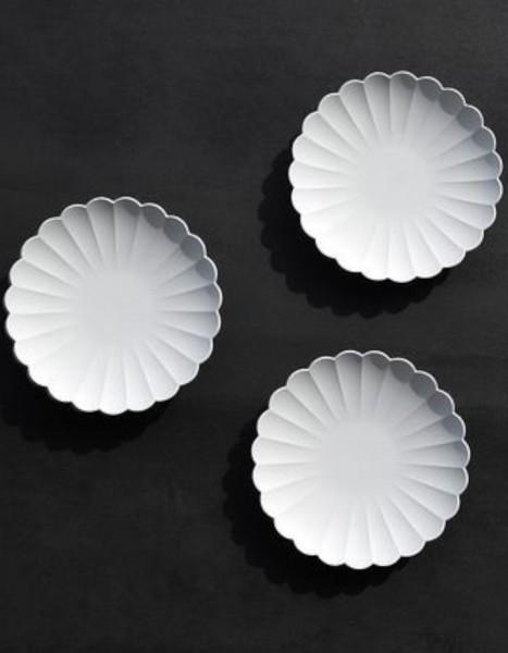 1616/ Arita Japan Teller 11 cm grau unglasiert