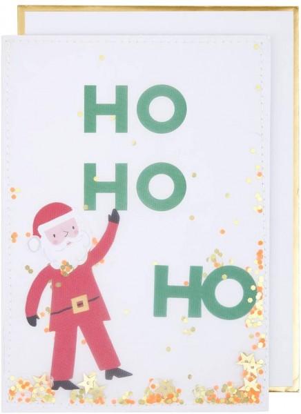 Meri Meri Weihnachtskarte Shaker Ho Ho Ho