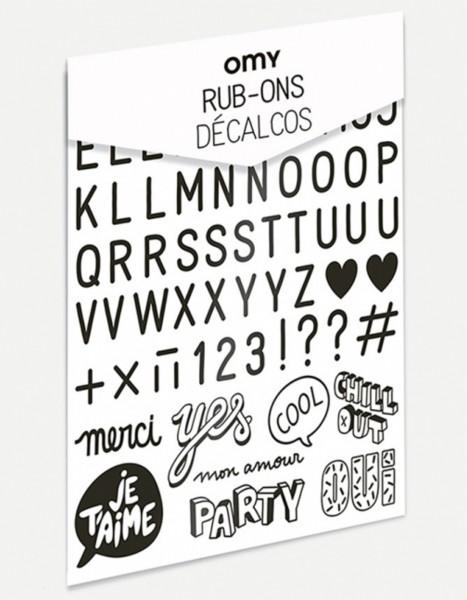 Omy Set Rub on Fabric Buchstaben