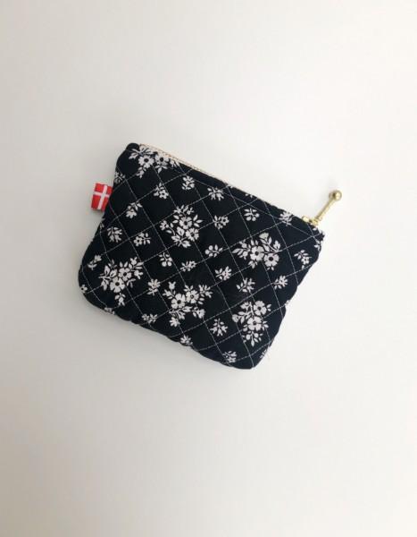 Vita Vass Kosmetiktasche klein schwarz mit weißen Streublumen