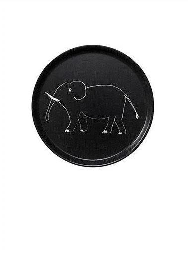 Fog Linen Tablett Rund Elefant schwarz