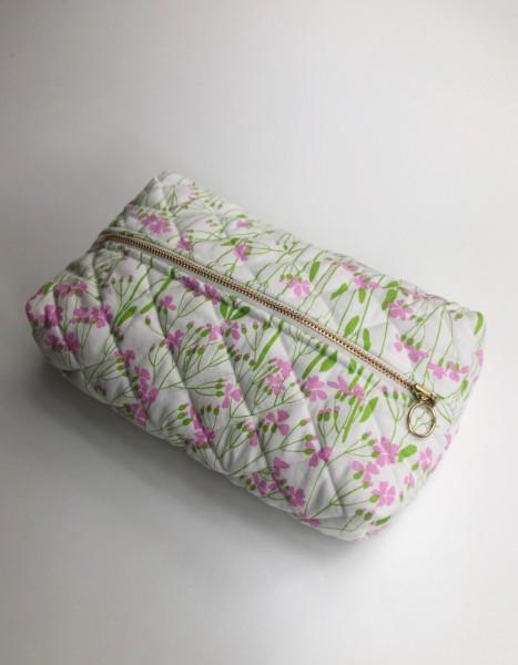 Vita Vass Kulturbeutel groß creme mit rosa grünen Blumen