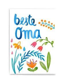 Frau Ottilie - Postkarte Beste Oma