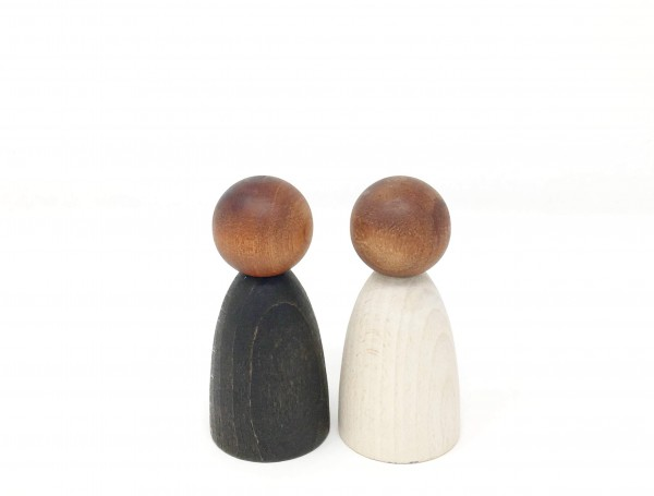 Grapat Holzfiguren 2 Erwachsene Nins dunkles Holz