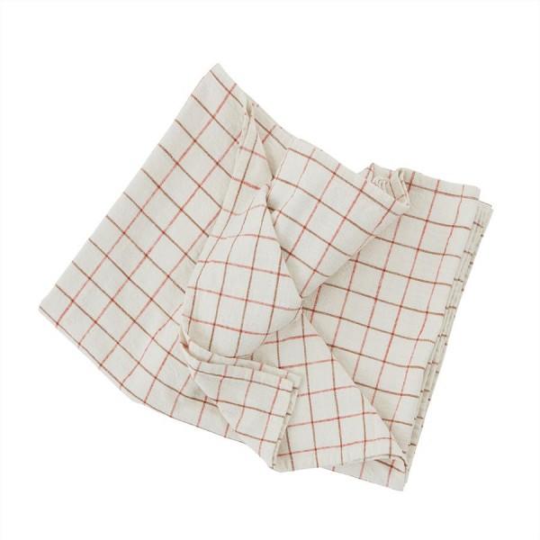 Oyoy Tischdecke Grid 260 x 140 offwhite red