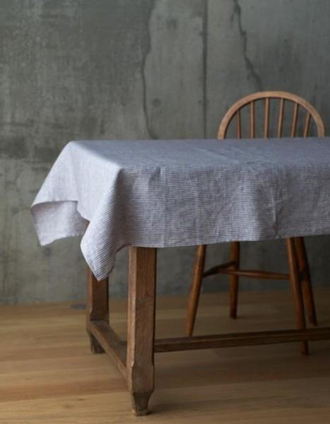 Fog Linen Leinen Tischdecke Grau Weiß gestreift