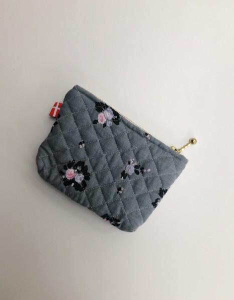 Vita Vass Kosmetiktasche klein grau mit schwarz rosa Blumen