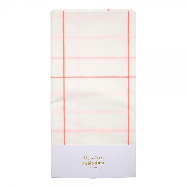 Meri Meri Papiertischdecke Coral Grid